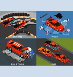 Car tuning 2x2 design concept vector