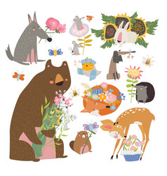 cartoon set with cute animals holding bouquet of vector image