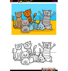 Cats animal characters group coloring book vector