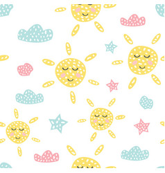 childish seamless pattern with cute sun creative vector image