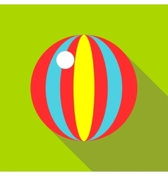 Children s toy ball with stripes on a bright green vector