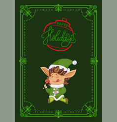 christmas holiday greeting card elf with lollipop vector image