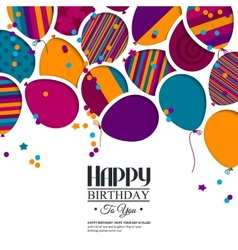 Colorful birthday card with paper balloons and vector