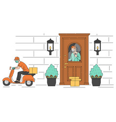Contactless to door delivery scene with deliver vector