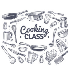 Cooking class sketch kitchen tool kitchenware vector