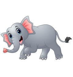 cute cartoon elephant walking vector image