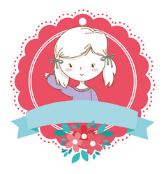 cute girl cartoon stylish outfit portrait floral vector image