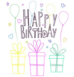 cute happy birthday greeting card design with vector image