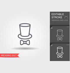 cylinder and tie bow line icon with shadow and vector image