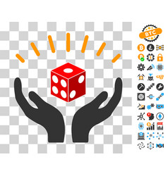 Dice prosperity hands icon with bonus vector