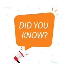 did you know info message help bubble speech vector image