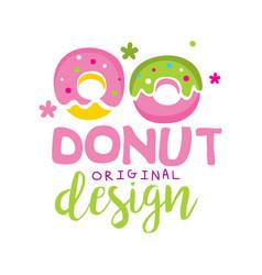 donut original logo design emblem for vector image