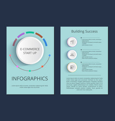 e-commerce start up and building success posters vector image