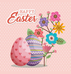 eggs painted and flowers happy easter card vector image