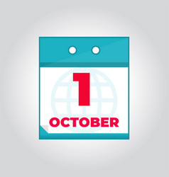 first 1 october flat daily calendar icon vector image