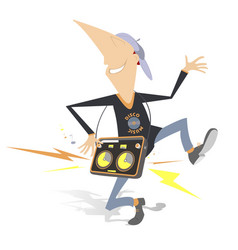 funny man with portable audio system vector image