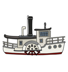 Funny old white paddle steamboat vector