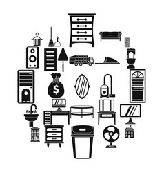 Furniture icons set simple style vector