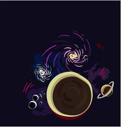 galaxy cartoon dark card dark vector image