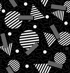 Geometric 80s retro pattern in black and white vector image