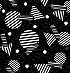 Geometric 80s retro pattern in black and white vector