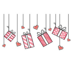 Gift boxes hanging vector