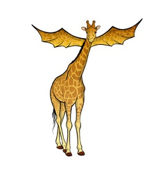 Giraffe with the wings on the white vector