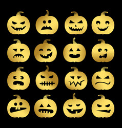 gold halloween pumpkins set vector image