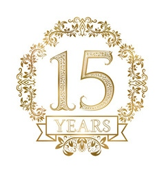 Golden emblem of fifteenth years anniversary in vector