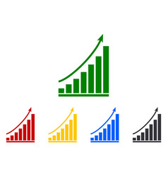 Graph grow chart with arrow up icon growth vector