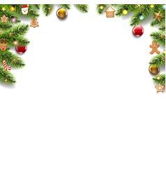 green fir tree border with christmas toys vector image