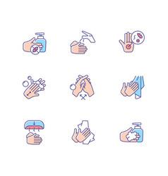 Hand washing steps rgb color icons set vector
