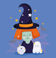 happy halloween witch with hat ghost skull web vector image