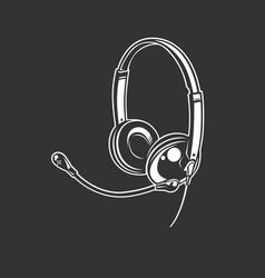 headphone icon monochrome style vector image