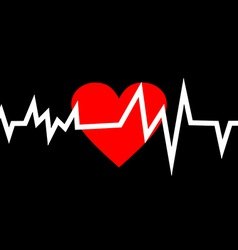 Heart with Life Line in Minimalistic Style vector image