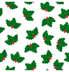holly berry seamless pattern vector image