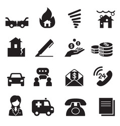insurance icons symbol set3 vector image
