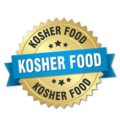 Kosher food 3d gold badge with blue ribbon vector