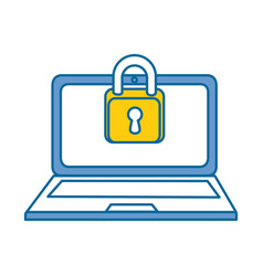 laptop computer with padlock vector image