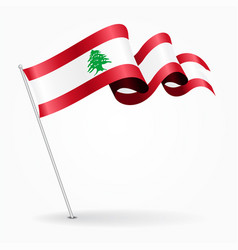 Lebanese pin wavy flag vector