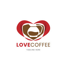 love shape of coffee shop logo design template vector image