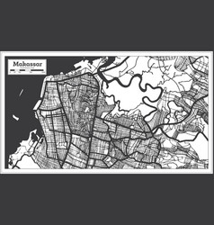 Makassar indonesia city map in black and white vector