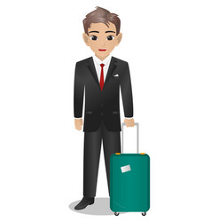 Male steward holding suitcase vector