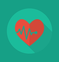 Medical Flat Icon Heartbeat vector image