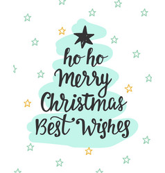 Merry christmas best wishes fir tree inscription vector