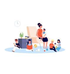 nanny with children babysitter infant baand vector image