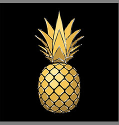 pineapple grunge with leaf tropical gold exotic vector image