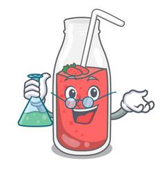 professor strawberry smoothie character cartoon vector image