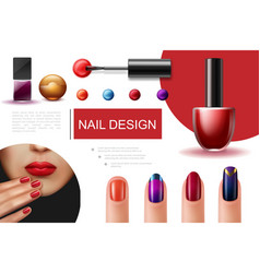 Realistic nail polish composition vector