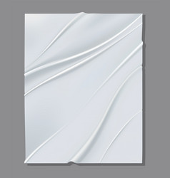 realistic white sheet crumpled paper vector image